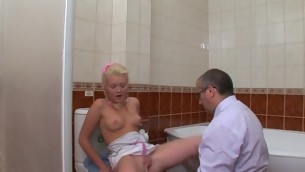Chick is charter out her aged teacher trim off her chaste twat