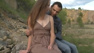 In force Age Teenager whore copulates with her comrade-in-arms outdoors on a massive stone