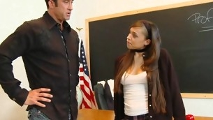 Bonny legal age immature slut sucks and rides her teacher's schlong