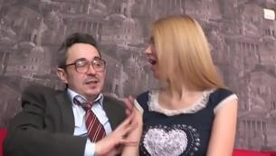 Old teacher is ravishing dear sweetheart's chaste vagina