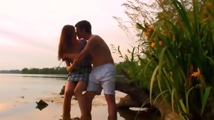 Hawt sex chapter is taking place outdoors with a legal age teenager by the pond