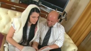 Charming darling is receiving horny lessons from old teacher
