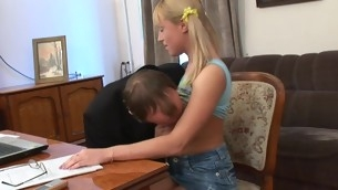 Sweet darling opens her twat for teacher's hard drilling