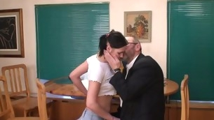 Celibate sweetheart is tempted by an old and horny teacher